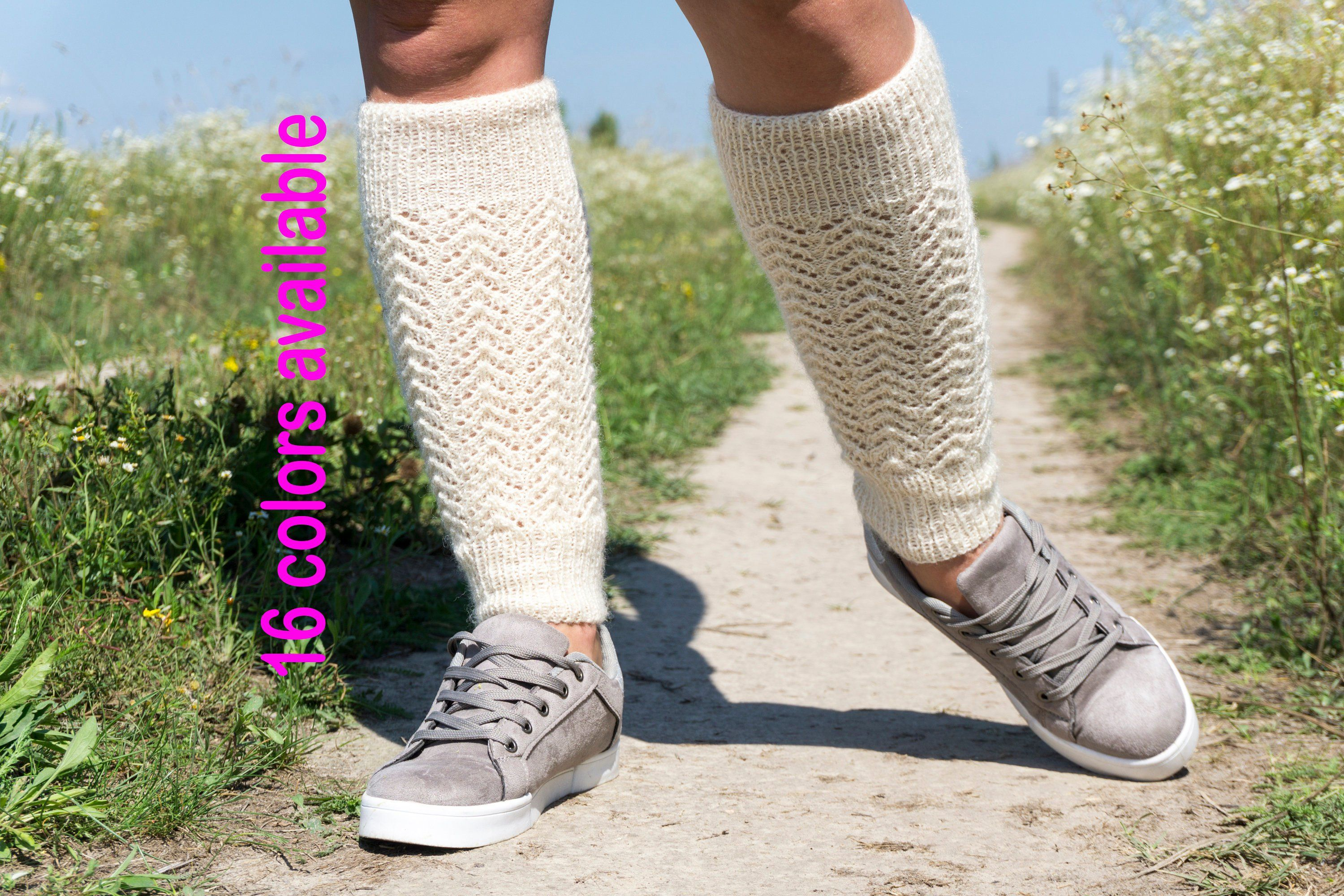 Hand knit wool leg warmers White leggings Dancing ballet fitness leg warmers Boot cuffs Ankle warmers Boot toppers Inspirational women gift #balletfitness
