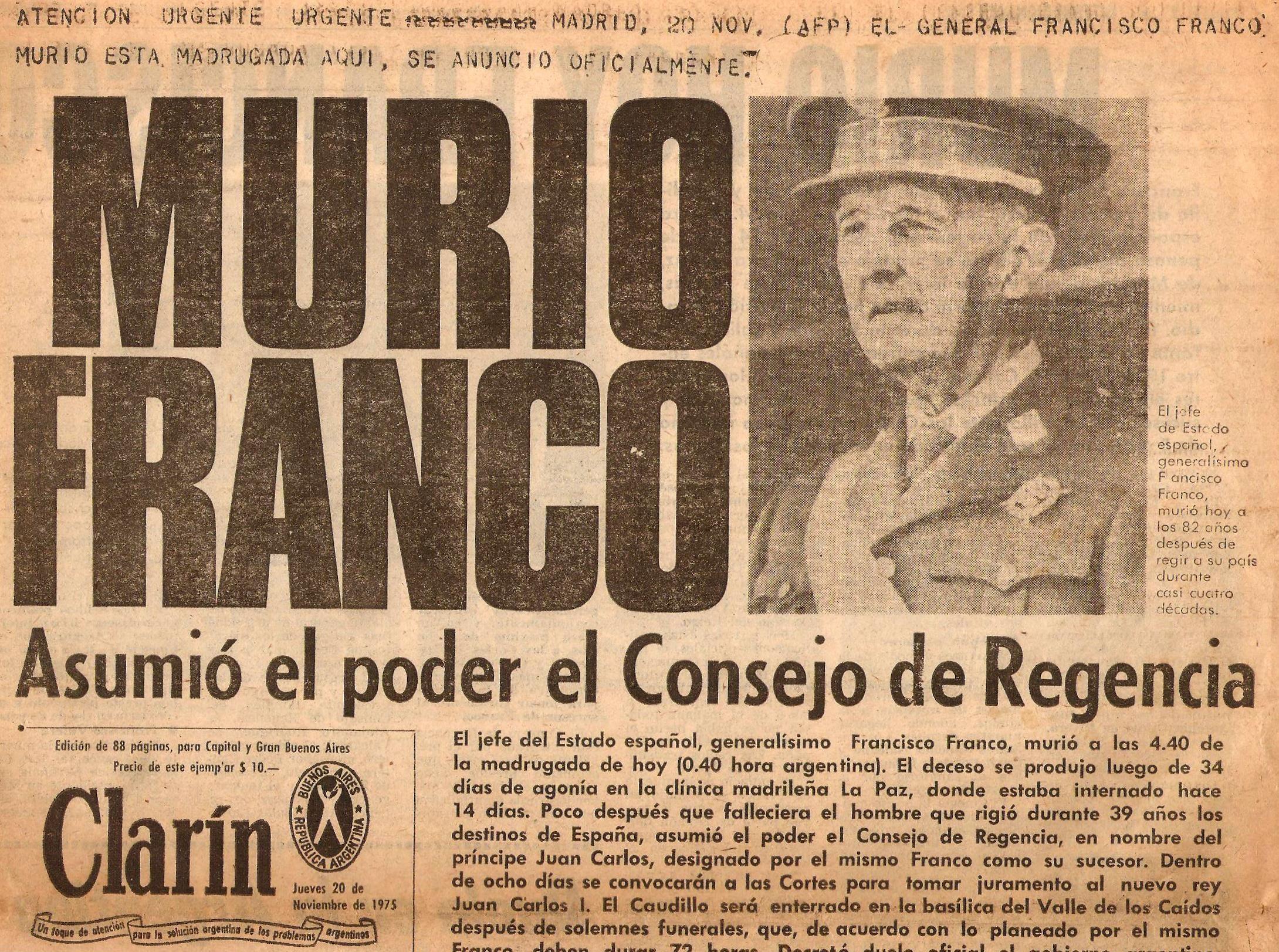 Portada del diario argentino Clarín. 20 de Nombre de 1975.