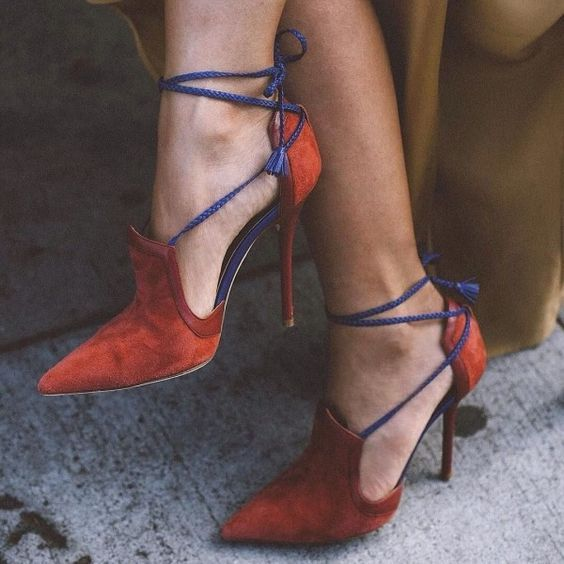 Tangerine Strappy Heels Pointy Toe Suede Stiletto Heels Pumps