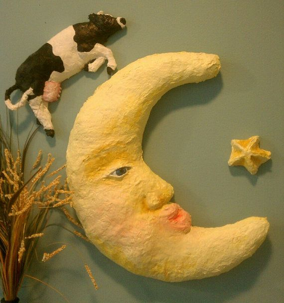 Jumping Cow made of Papier Mache Wall Art Heather by PapierOpia ...