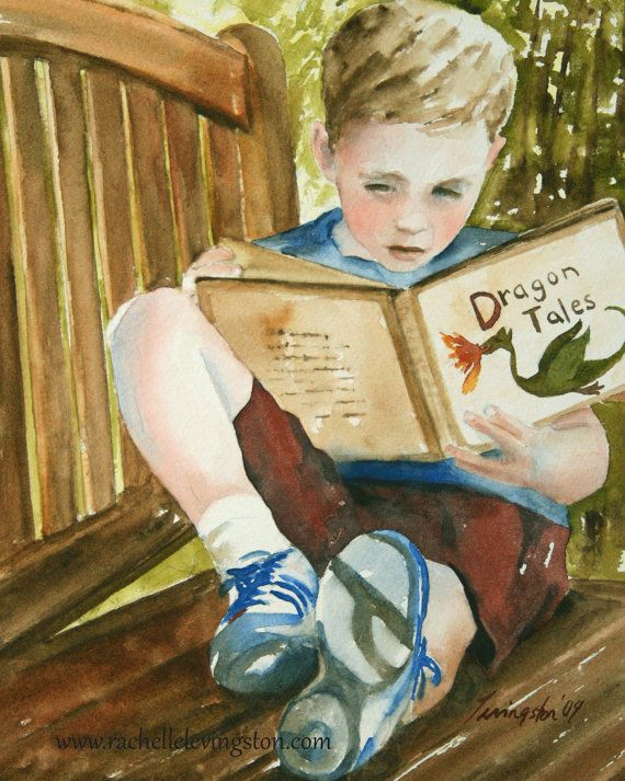 Boy Reading Dragon Book 11 X14 Kids Wall Art Watercolor Art Print