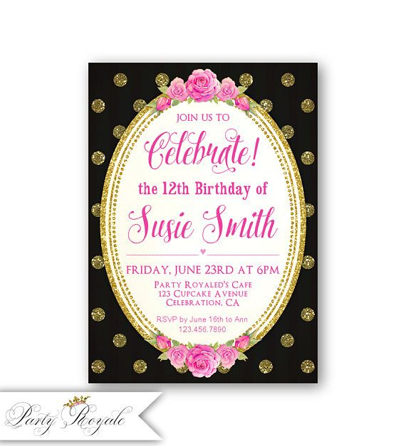 10th Birthday Invitations Girl Hot Pink Black Gold Glitter