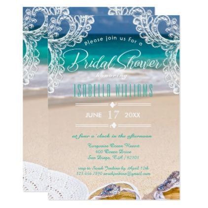 chic ocean beach summer bridal shower invitation romantic gifts ideas love beautiful