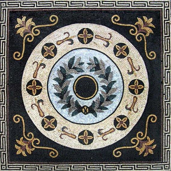 Greco Roman Floral Panel Apollo Mosaic Mediterranean