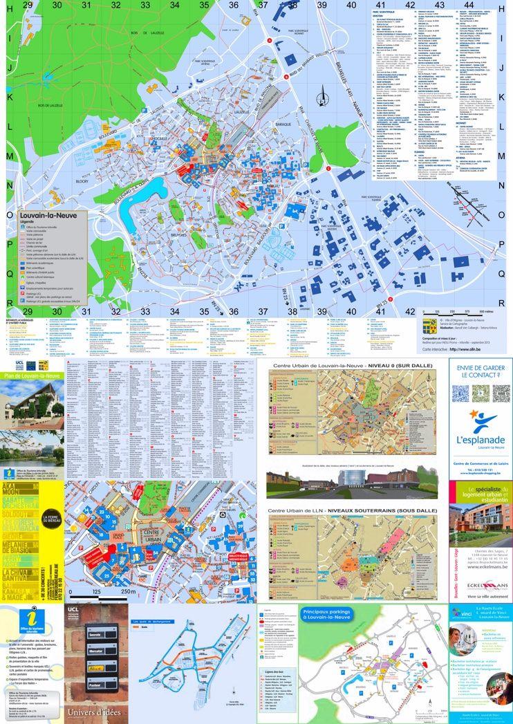 LouvainlaNeuve tourist map Maps Pinterest