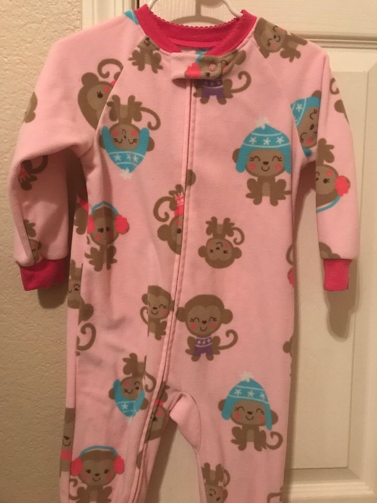 3a1b36501 Carters Child of Mine Girls Fleece Footed Pink Monkey Pajamas 24 ...