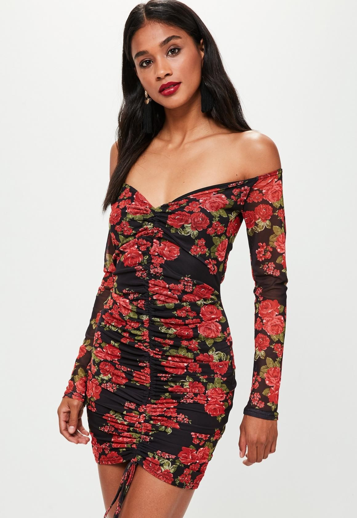 99bd54bd2f5e Missguided - Black Printed Mesh Bardot Ruched Front Bodycon Dress ...
