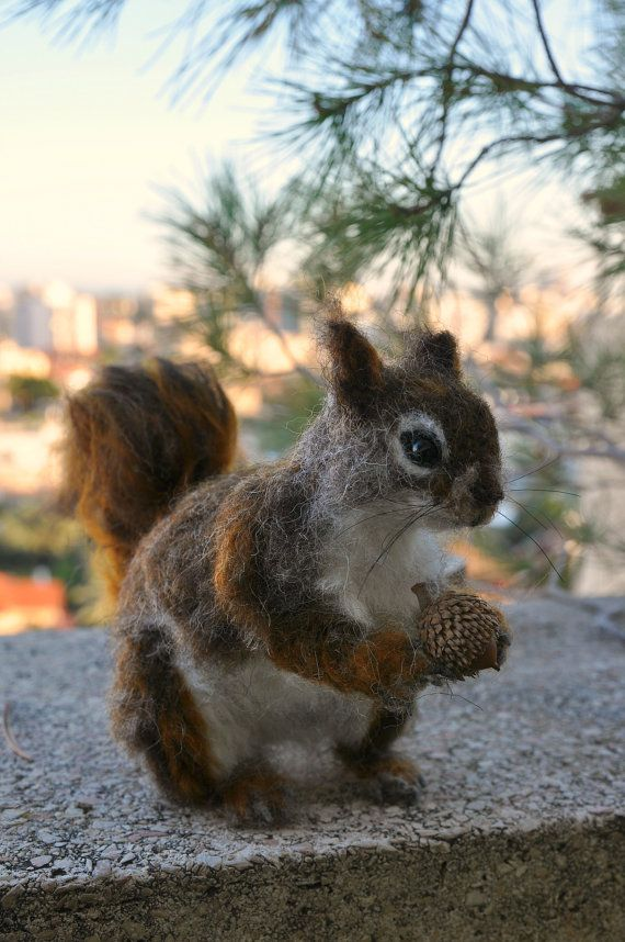 Needle Felted Wool Animal. North American red squirrel. Soft sculpture #feltedwoolanimals
