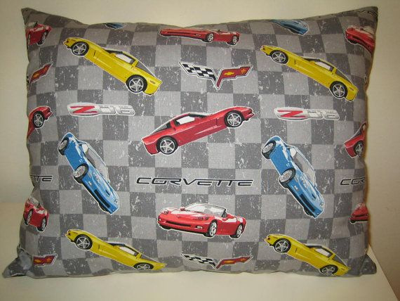 Purchased - Vintage Chevrolet Corvettes Pillow  and/or Curtain Valance in 100% Cotton - Handmade New.