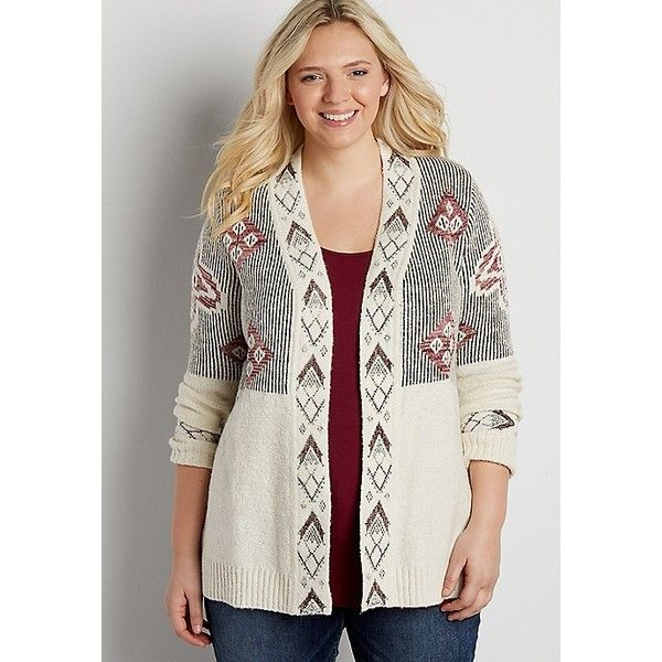 maurices Plus Size - Cardigan With Ethnic Design And Metallic... ($35) ❤ liked on Polyvore featuring tops, cardigans, plus size metallic top, plus size womens cardigans, white top, plus size white cardigan and plus size tops
