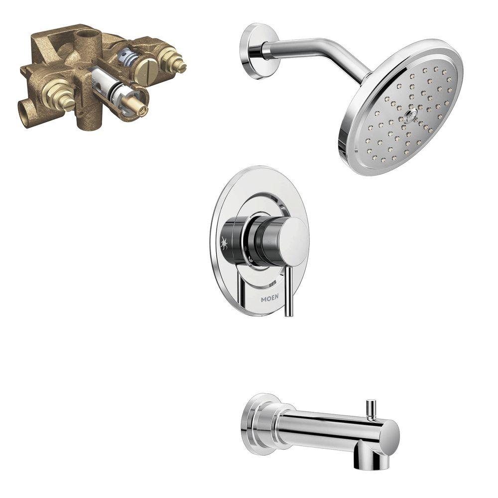 shower faucet kit with valve. Align Single Handle 1 Spray Moentrol Tub and Shower Faucet Trim Kit with  Valve in Chrome Grey