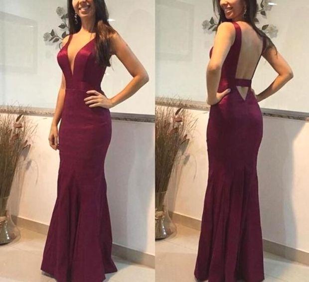 Charming Maroon Satin Deep V Neckline Party Dresses, Pretty Wedding Party Dresse…