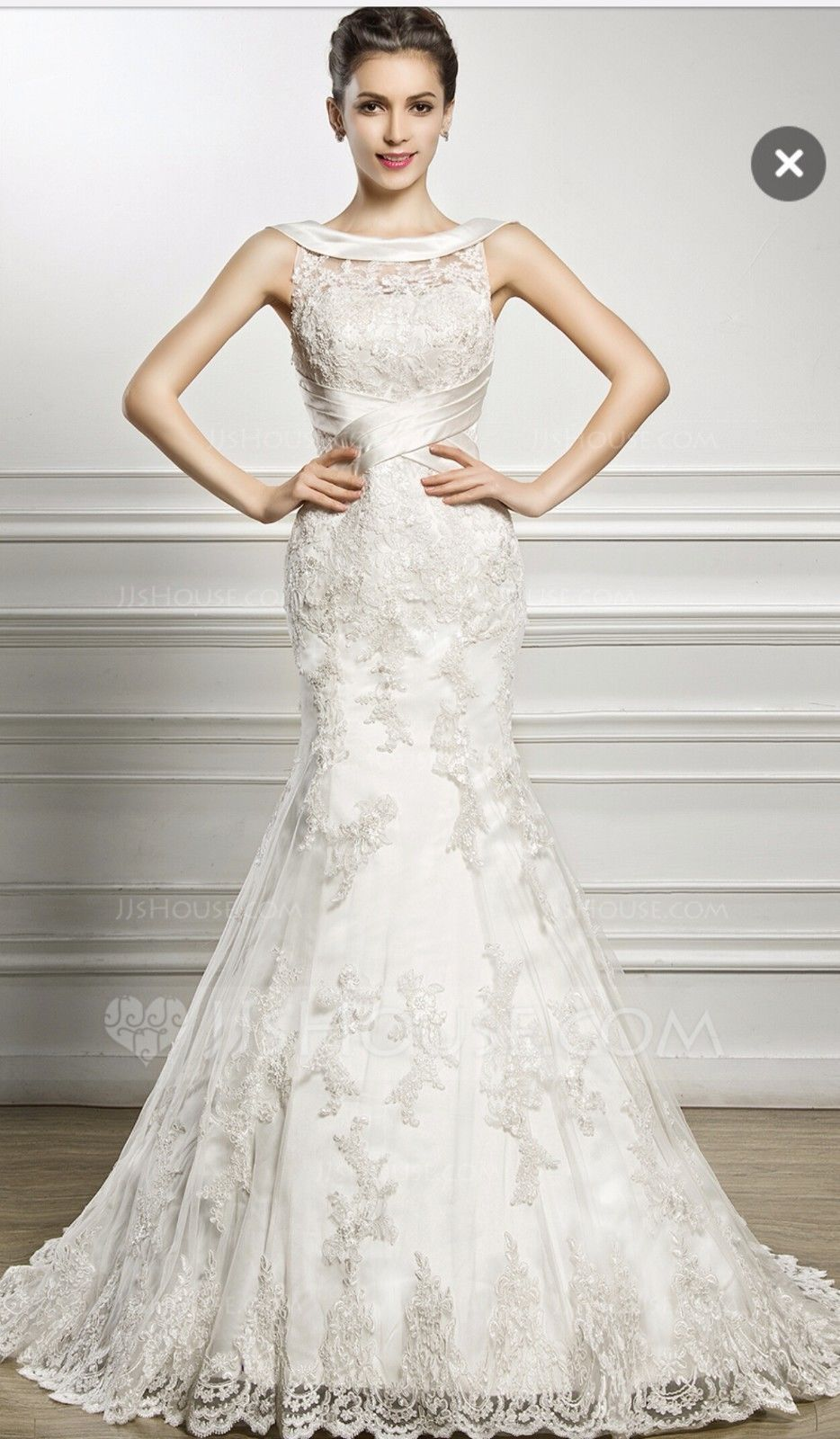 Satin trim and lace Mermaid Trumpet Trailing Wedding Dress White SIZE  14