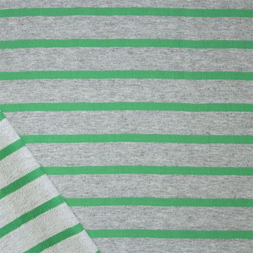 """Small Meadow Green Heather Gray Stripe Cotton French Terry Knit Fabric - Pretty meadow green small stripe and heather gray 100% cotton french terry knit.  French terry has a smooth jersey top side and a low terry pile on bottom side of fabric with a smooth, tight hand, nice drape, and small stretch. True medium weight.  Green stripes measure 1/4"""", heather gray measures 1"""".  Fabric measures 72"""" wide!  ::  $6.75"""
