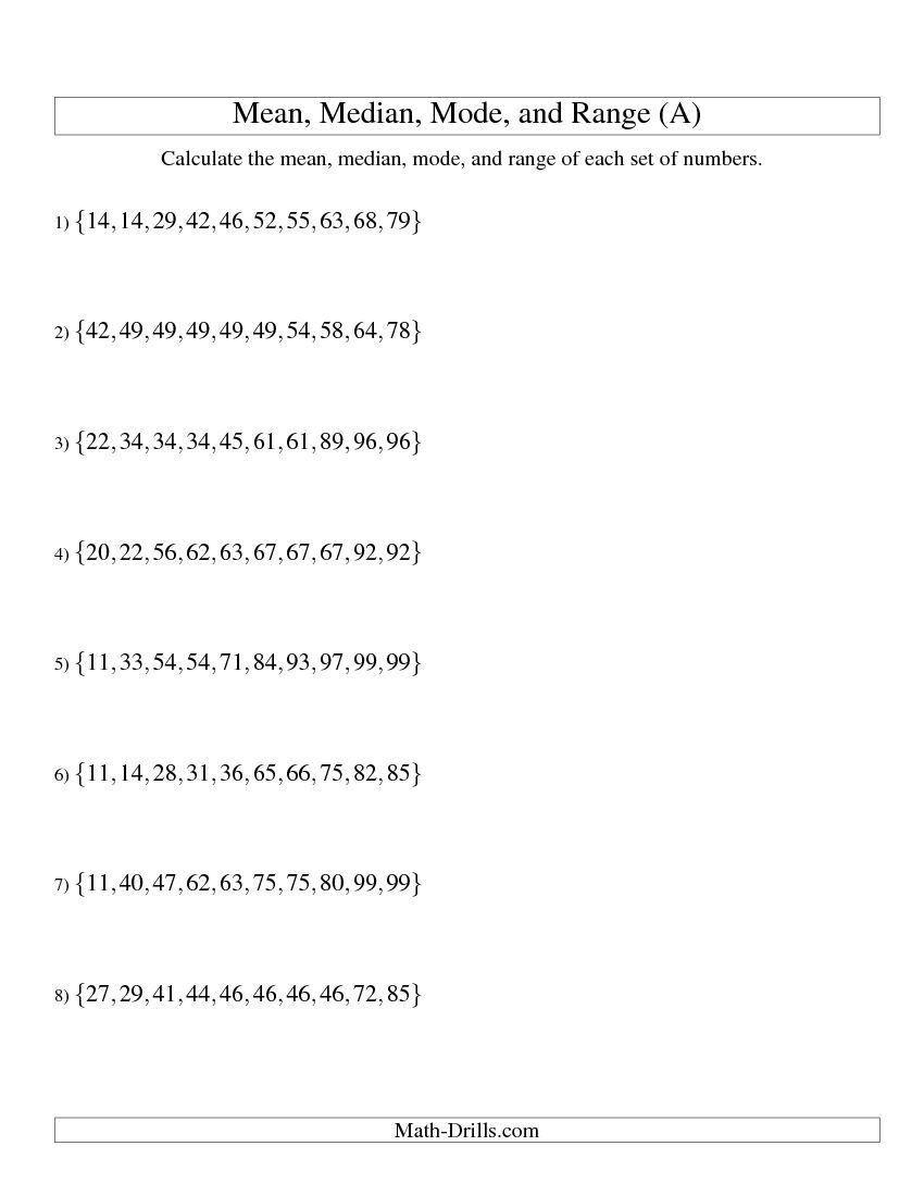 Stem and Leaf Plots Worksheet Mean Median Mode and Range sorted Sets Sets  Of 10 From   5th grade worksheets [ 1100 x 850 Pixel ]
