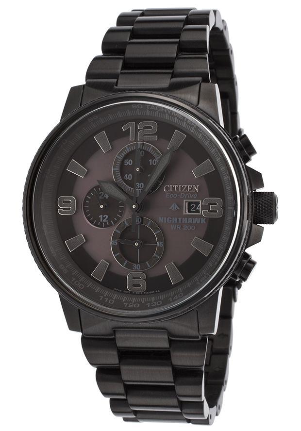 Citizen CA0295-58E Watches,Men's Nighthawk Chrono Black Ion Plated SS Black Dial, Dress Citizen Solar Watches