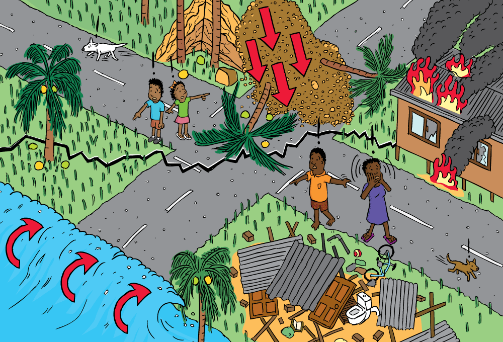 colour high-angle view of village experiencing earthquake  diagram of  landslide, tsunami at beach, buildings in rubble, house fire