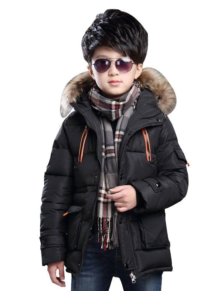 d5d23b6cb8b0 Big Boy s Winter Cotton Thick Hooded Parka Outwear Coat with Faux Fur Trim  Black- Tag