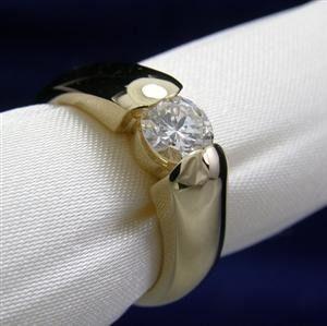 Anel Solitario Em Ouro Branco 18k Brilhante De 50 Pontos Ouro
