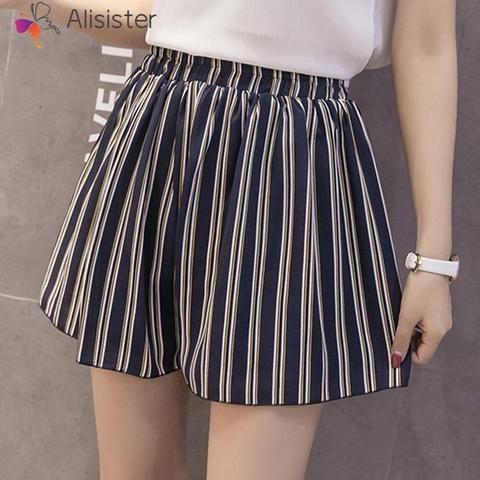 2018 Summer New Women Chiffon Shorts High Waist Striped Boho Floral Print Wide Leg Shorts Female Plus Size Elegant Skirts Shorts #chiffonshorts