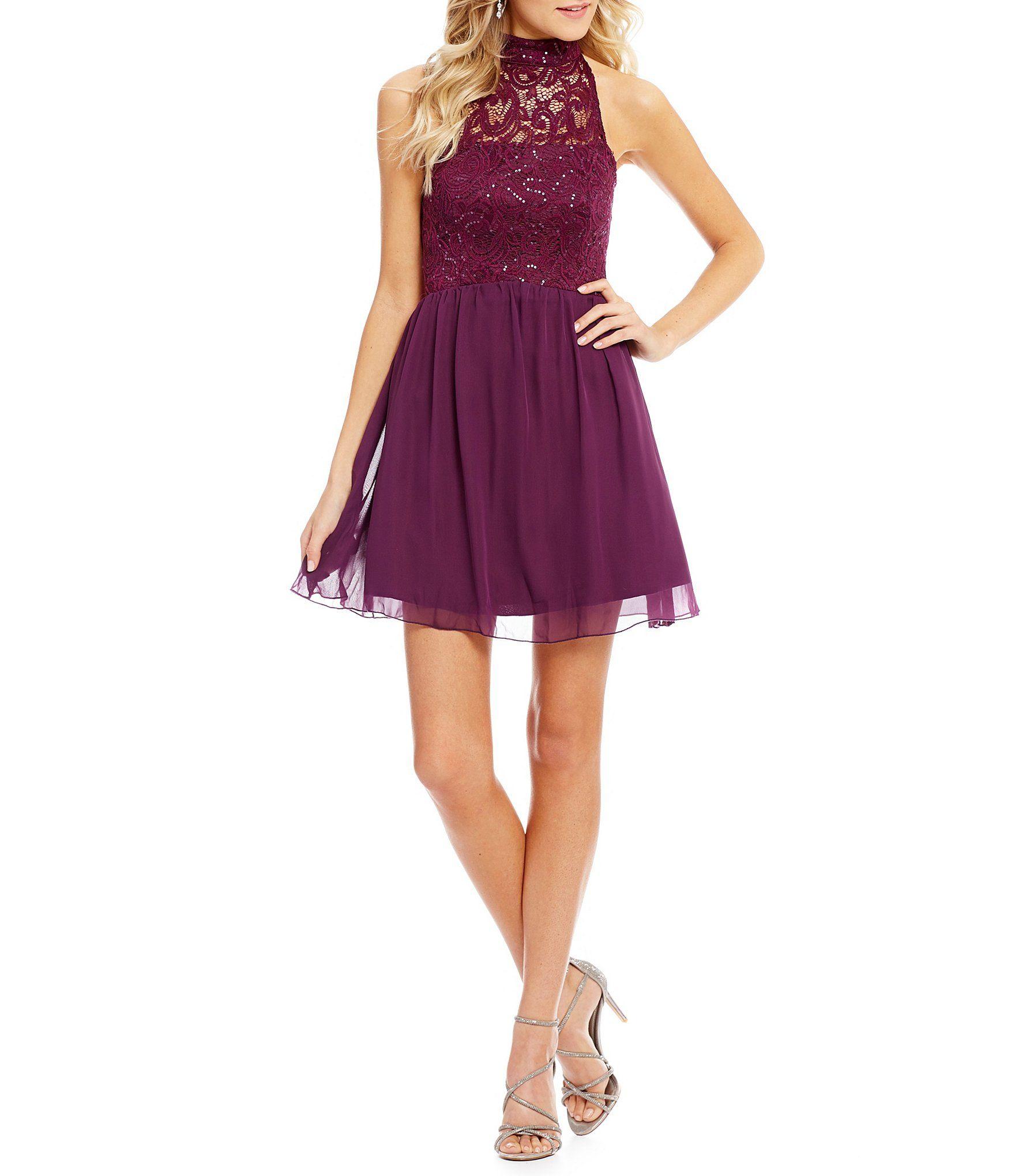 64231e7e67a Xtraordinary Mock Neck Sequin Lace Bodice Skater Party Dress  Dillards