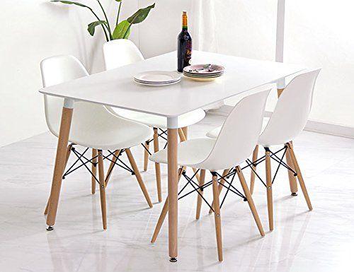 conjunto de comedor mesa lacada blanca y 4 sillas tower 1 https