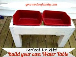 DIY water table - SO easy to make & inexpensive.    Personalize it by painting your child's name on it!