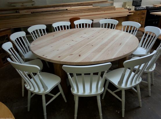 dining room table 12 seater | 12 14 seater large round Chunky Country dining table ...