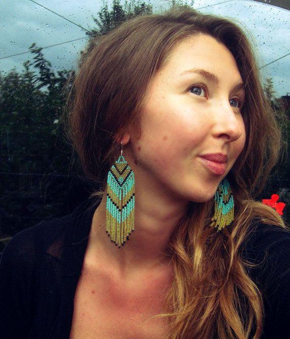 Long Beaded Fringe Earrings Native American by hoofandarrow, $52.00