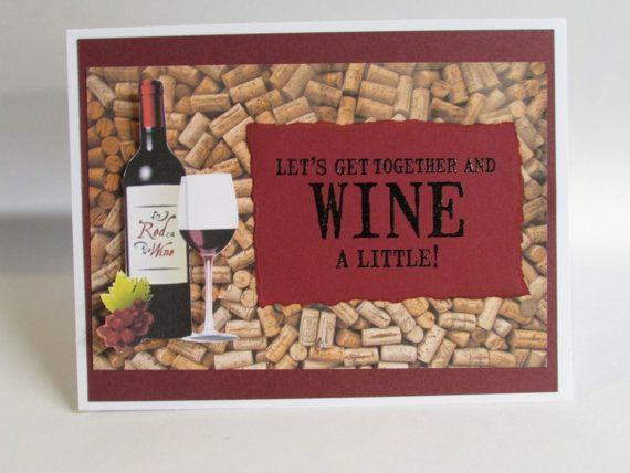 Card wine bottle and glasses greeting cards handmade greeting card wine bottle and glasses greeting cards handmade greeting card lets wine together by bookmarktalkfo Image collections