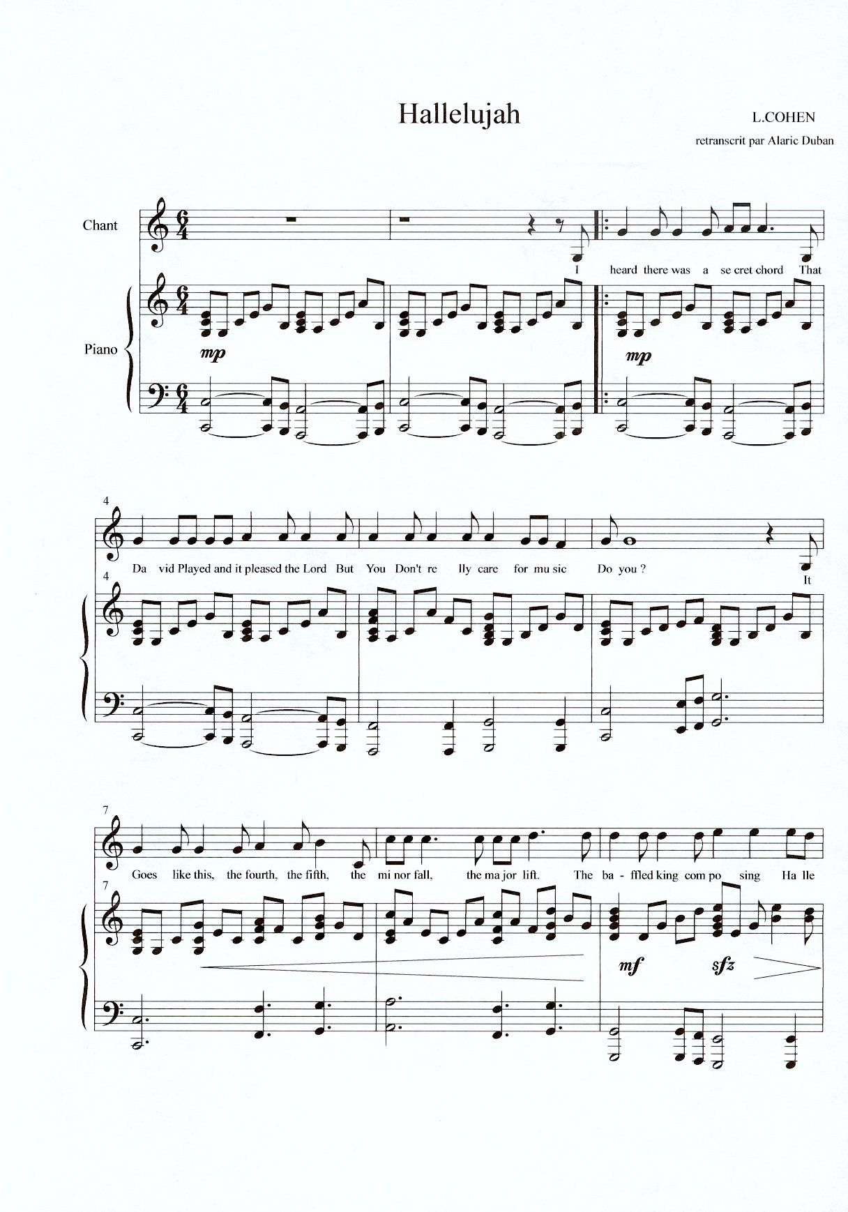 hallelujah chords piano sheet music free