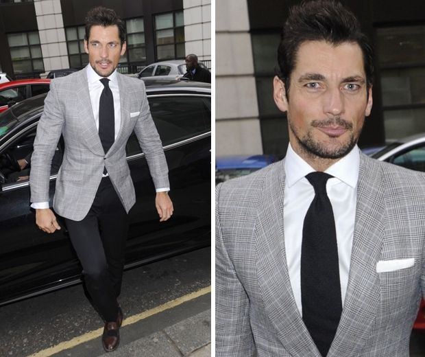 David Gandy arrived separately, looking dapper in a grey blazer ...