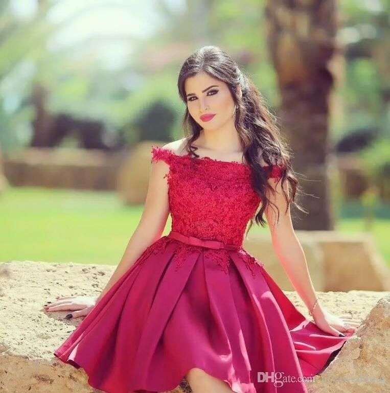 728639659b5e9 Little Red Short Prom Dresses Knee Length Off The Shoulder Lace Top ...