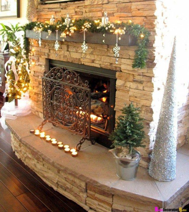 Decoración navideña para chimenea Adornar, Guirnaldas y Decoración