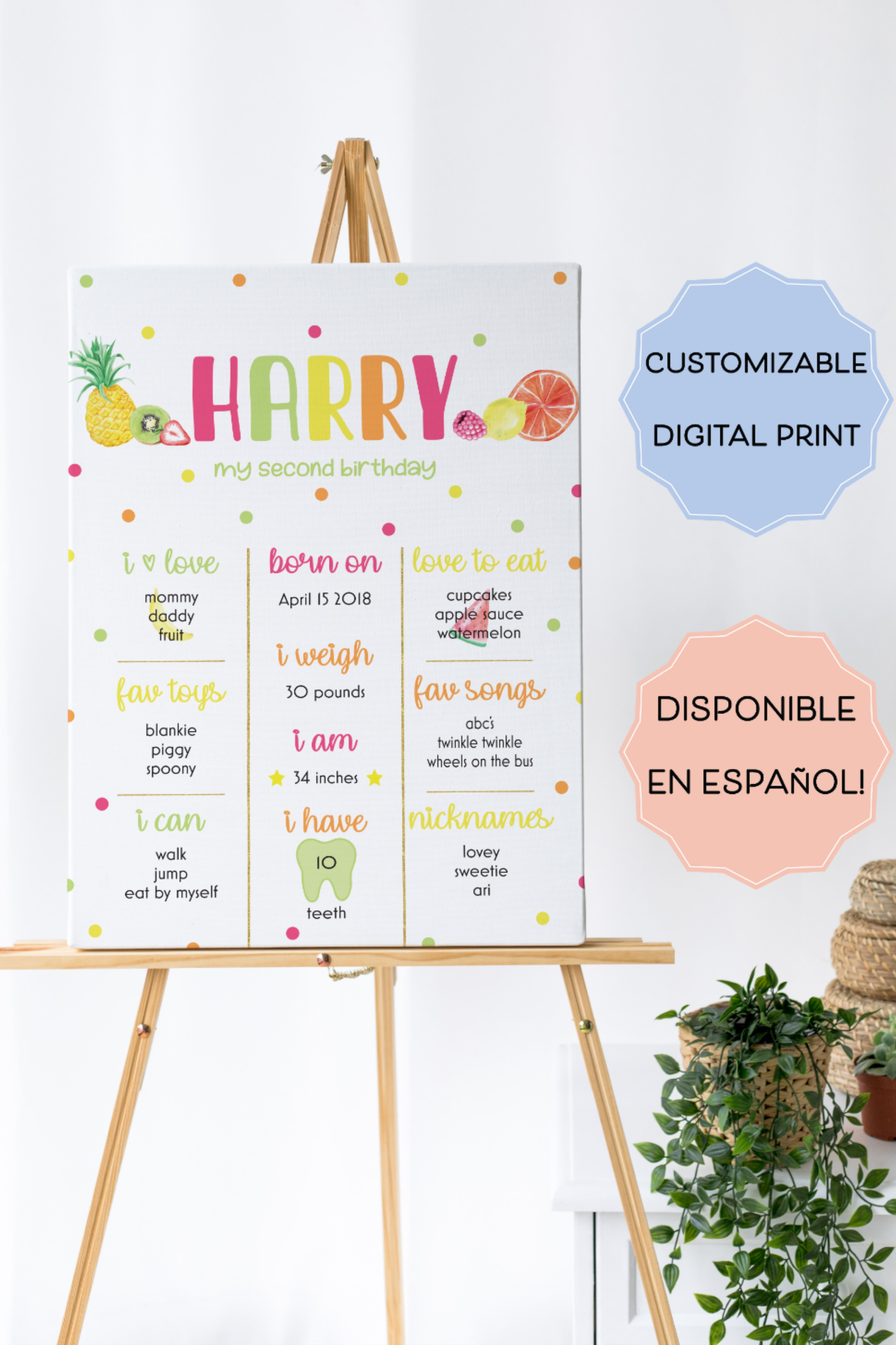 View our tutti frutti birthday milestone poster. Perfect to display a child's stats for their birthday party or a tutti frutti birthday party. Click to shop now!  Fruit Theme Birthday Party. Fruit Birthday Milestone Poster. Tutti Frutti Theme. Tutti Frutti Poster