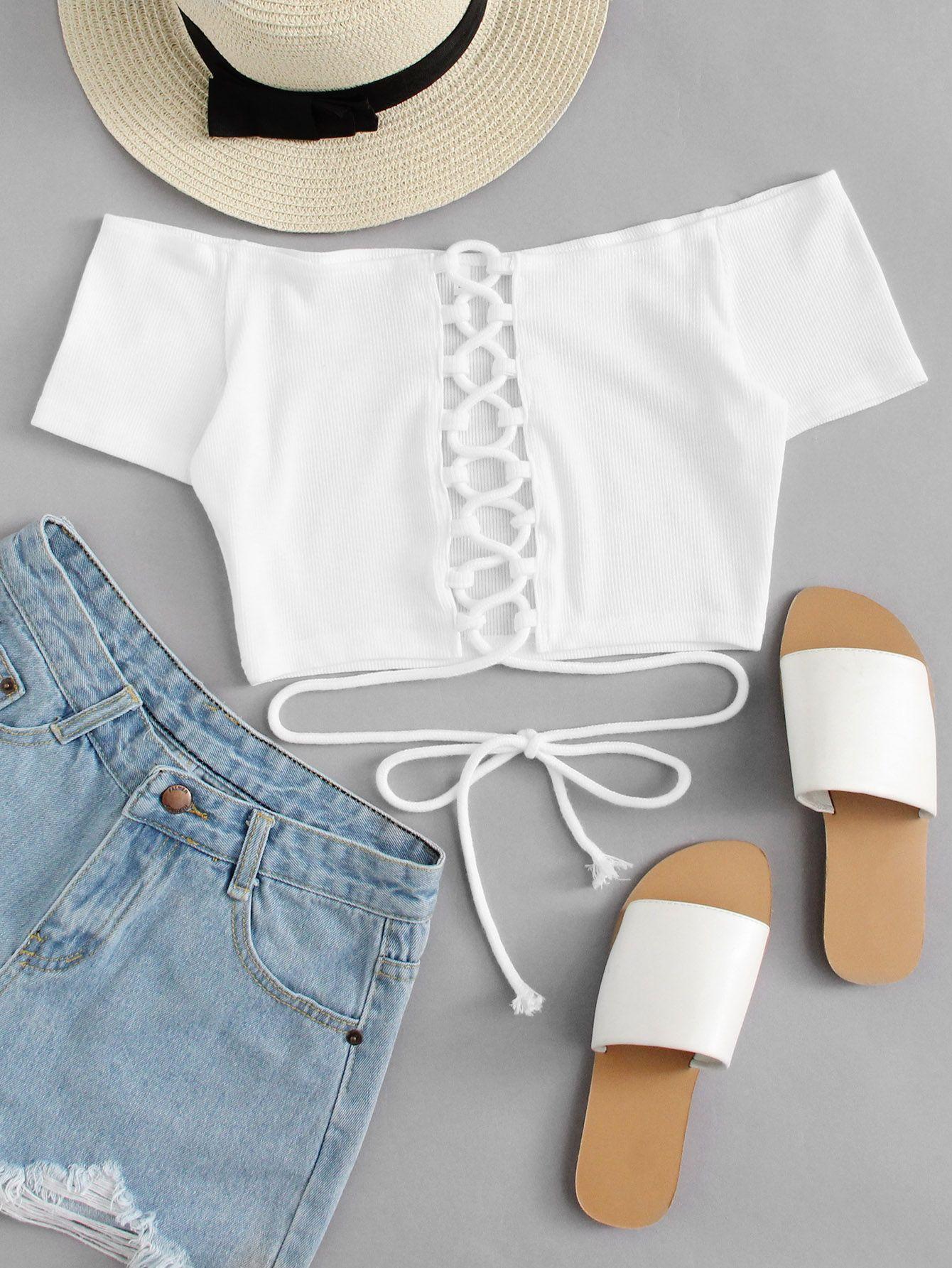c05a793485c4 Off Shoulder Lace Up Crop Top -SheIn(Sheinside) | Shopping in 2019 ...