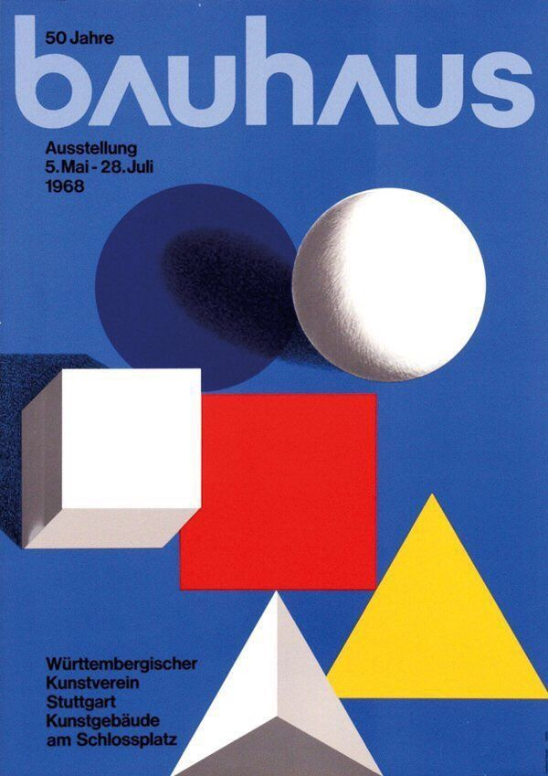 Poster Advertising The 50 Years Of Bauhaus Exhibition In