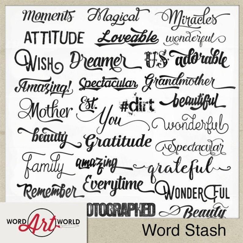 Digital And Printable Overlay Word Art Set Instant Download Word Stash Cu Ok Commercial Use Png Images Scrapbooking In 2021 Digital Word Art Word Art Lettering Fonts