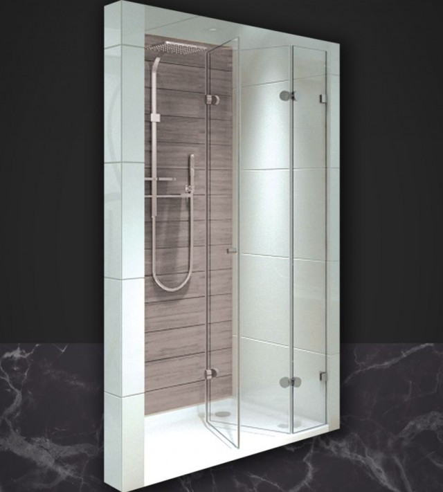 Shower cabins, bathtubs and screens' Accordion front three-part …