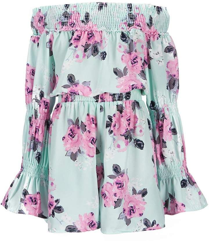 7a5c1152e63 Maddie Big Girls 7-16 Off-The-Shoulder Floral Romper  ruffled neckline  shoulder