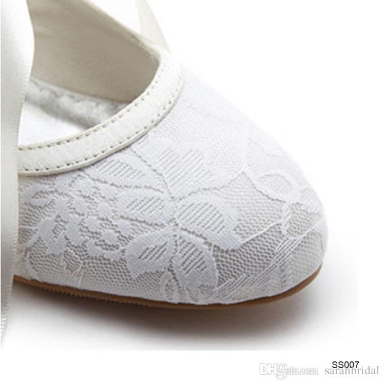 Comfortable Lace Bridal Shoes Wedges For Weddings Women Low Heels Bow Knot Cheap Bohemian Custom Made