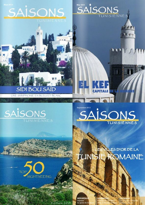 Saisons Tunisiennes (Seasons Tunisia) is a monthly magazine about culture, heritage and nature in Tunisia.  The magazine is in French.  Click on http://issuu.com/saisonstunisiennes to access past issues online