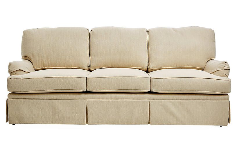 Grayson 89 Skirted Sofa Beige
