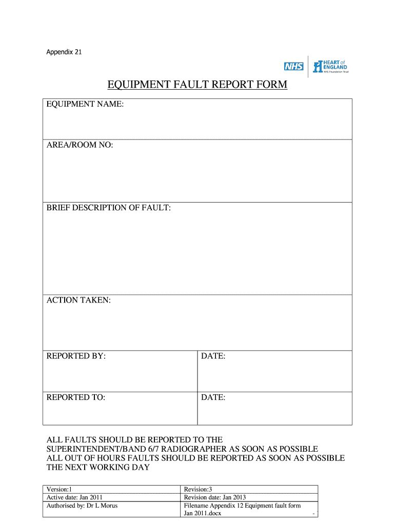 Equipment Fault Report Fill Online Printable Fillable With Regard To Fault Report Template Word Report Template Business Template Professional Templates