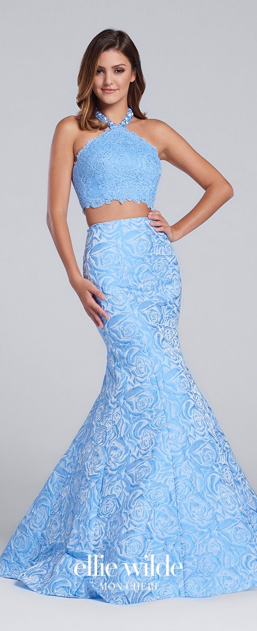 660a9a23d4e Prom Dresses 2017 - Ellie Wilde for Mon Cheri - periwinkle blue two- piece  lace and floral jacquard prom dress - Style No. EW117125