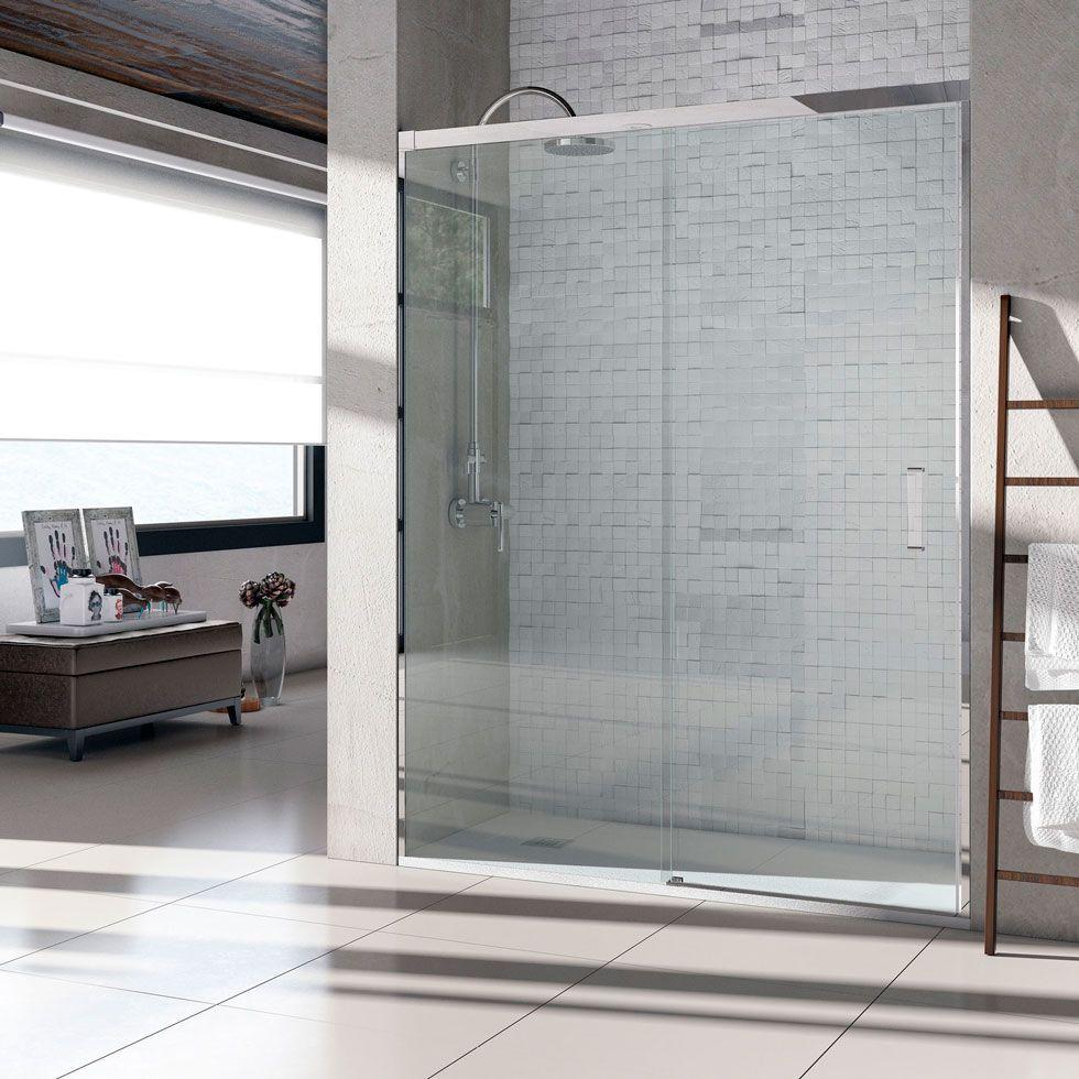 Mampara ducha barata frontal atempo 1 fijo 1 puerta - Puerta corredera cristal bano ...