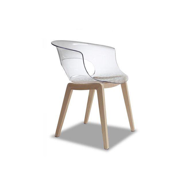 Chaise design avec pieds bois - NATURAL MISS B Antishock - déco ...