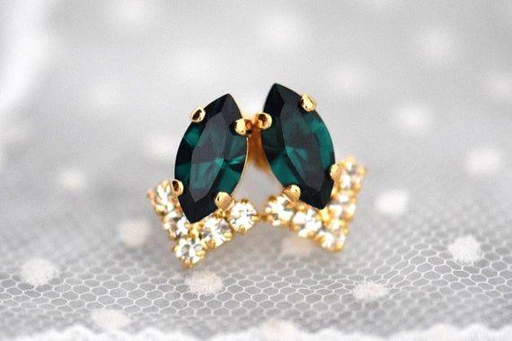 Photo of Emerald Earrings Studs,Dainty Stud Earrings,Emerald Bridal Earrings Necklace Set,Emerald Bridal Jewelry Set,Dainty Jewelry,Bridesmaids Gifts