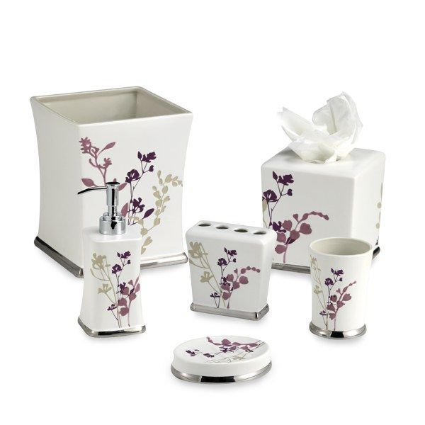 Reflections purple bath ensemble bed bath beyond for Purple bathroom accessories