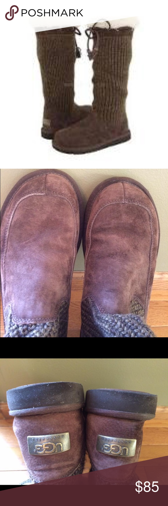 UGG Suburb Crochet Tall Boots Choc Brown - size 10 This pair of UGG Suburb Crochet Tall Boots is in wonderful condition only having been worn a handful of times. Style is #5733. Size is 10 women's which actually fits a size 9. Chocolate brown in color. UGG Shoes Winter & Rain Boots